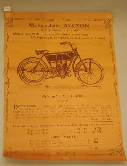 Affiche ancienne motocyclette ALCYON