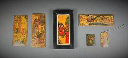 Lot de plaques en bois peint, Iran, première...