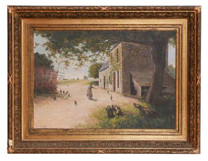 Louis DUMOULIN (1860-1924) Dans la ferme, circa 1860  Huile sur toile  Signé et daté...