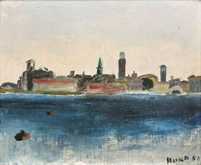 """12- HURO  """"Navy  Marouflaged oil on canvas signed lower right and dated 58  21.5..."""