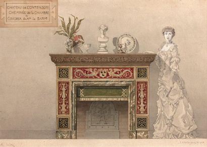 16- PRINES  ''Château de Contenson - Fireplace in the Baroness's bedroom''.  Watercolor...