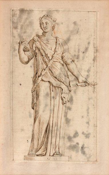 18- François PERRIER (attribué à)  ''Allégories''  Trois dessins  22 x 13 cm