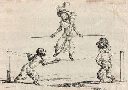 21- Ecole Française  ''Les singes funambules''...