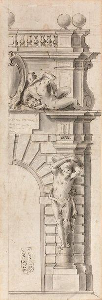 22- Ecole Italienne  ''Architecture''  Dessin...