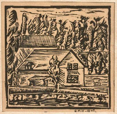 3- ''Chaumière''  Gravure monogrammée RMH et datée 1942  8 x 8 cm