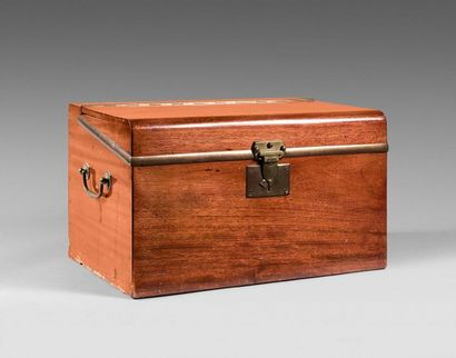 46- Mahogany Travel Chest  Brass frames and handles  (Accidents)  30 x 50 x 32 ...