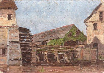 5- ROGER (?)  ''Moulin à eau''  Huile sur...