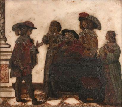 9- Ecole Française (?)  ''Les condoléances''  Peinture sur marbre  25 x 28 cm
