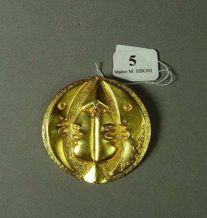 5- Broche/pendentif ''Le soleil et la lune''en...