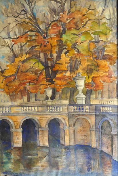 49- N. BONOUVRE (?)  ''Pont en automne''...