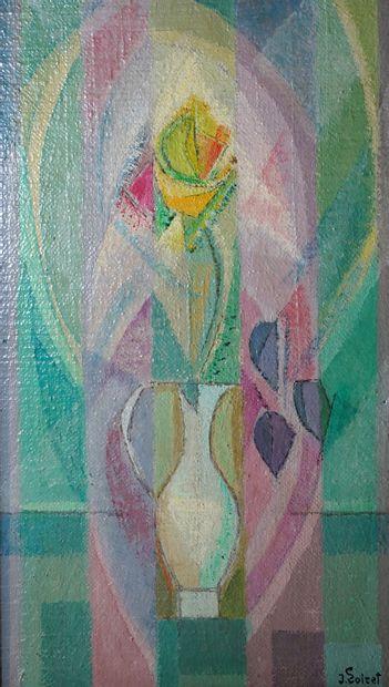 21- J. LOIRET  ''Vase de fleurs''  Huile...