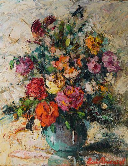 13- Louis DUCATEL  ''Vase de fleurs''  Huile...