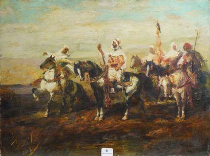 6- Ecole Orientaliste  ''Cavaliers''  Huile...