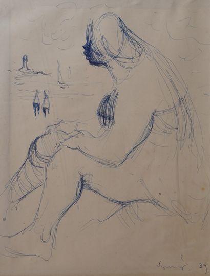 4- Ecole Moderne  ''Femme sur la plage''...