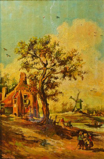 38- DEWEPPE  ''Le moulin''  Huile sur panneau...
