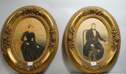 34- Ecole Française XIXème siècle  ''Portraits...
