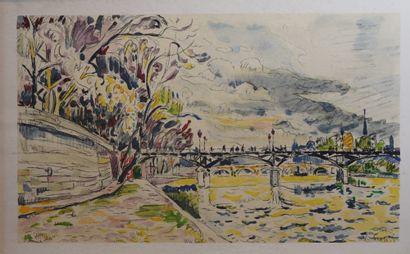 5- Paul SIGNAC  ''Le pont des Arts''  Es...