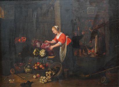 26- Ecole Hollandaise  ''La taverne''  Huile...