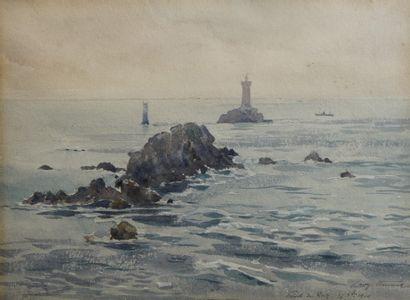 41- Léon VINCENT  ''Pointe du Raz''  Aquarelle...