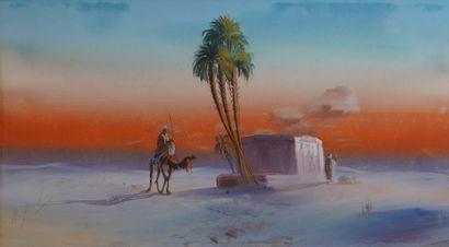 29- Ecole Orientaliste  ''Oasis et cavalier...