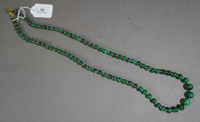 10- Sautoir en malachite  L : 79 cm