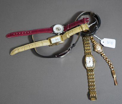 18- Lot de six montres diverses : Lip, Louis...