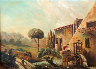 16- A. HERBOLA  ''Le moulin à eau''  Huile...