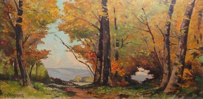 22- Ch. PINCON  ''Paysage d'automne''  Huile...