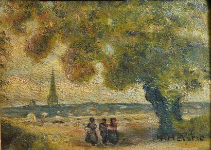 48- H. MELSHI (?)  ''Les promeneurs''  Huile...