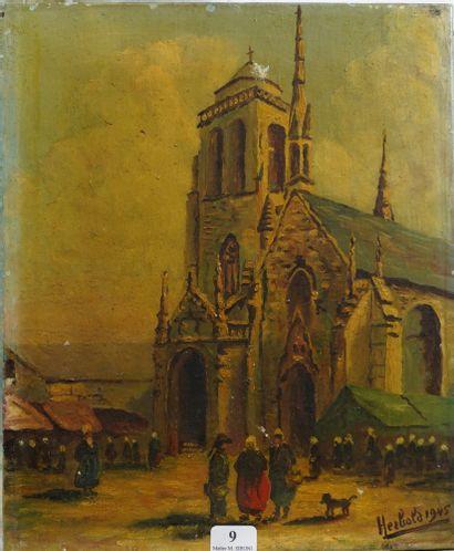 9- A. HERBOLA  ''La sortie de l'église en...