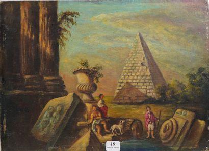19- Ecole Française  ''La pyramide''  Huile...