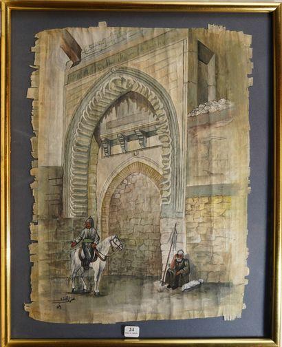 24- Ecole Orientaliste  ''Cavalier devant...