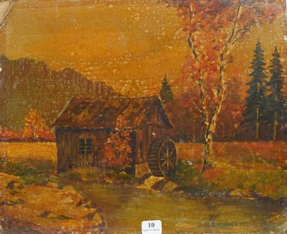 10- HECKE (?)  ''Moulin à eau en automne''...
