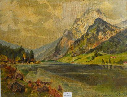 8- R. LE BOUGRE  ''Lac de montagne''  Huile...