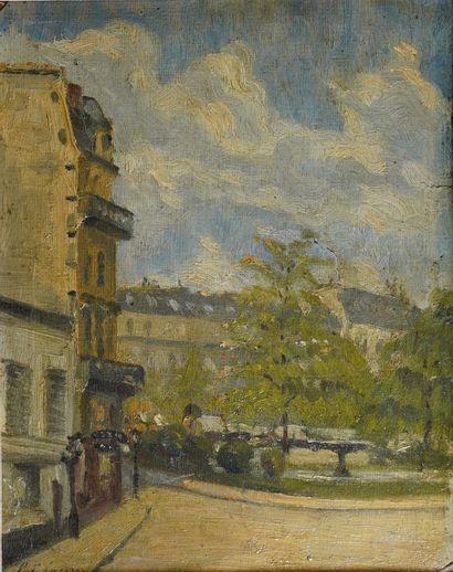 41- Ecole Française  ''Place Pigalle''  Huile...