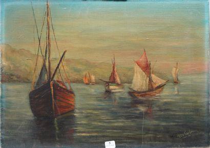 5- A. HERBOLA  ''Voiliers dans la baie''...