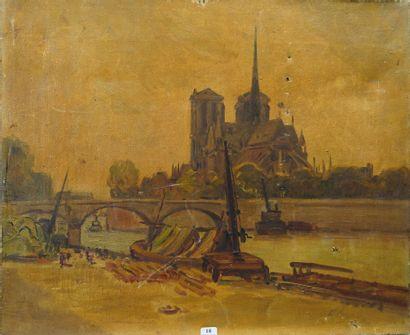 18- Ecole Française  ''Notre-Dame''  Huile...
