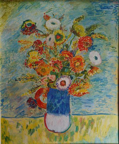 26- Claude DROUET  ''Vase de fleurs''  Huile...