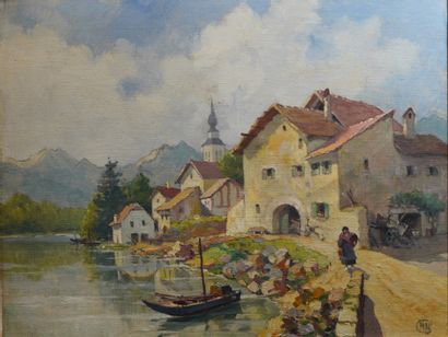 39- Ecole Italienne (?)  ''Village au bord...