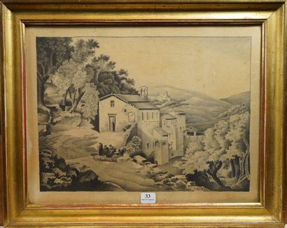 33- CHENAR (?)  ''L'abbaye''  Dessin signé...