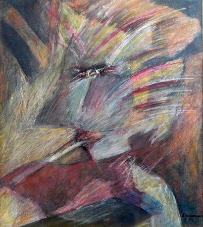 28- J. DESARMENIEN  ''Composition''  Pastel...