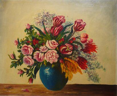 17- A. HERBOLA  ''Vase de fleurs''  Huile...