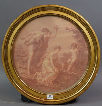 45- ''Cupidon et les Trois Grâces''  Gravure...