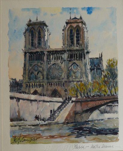 36- Polo GAMBIER  ''Notre-Dame'' et ''Place...