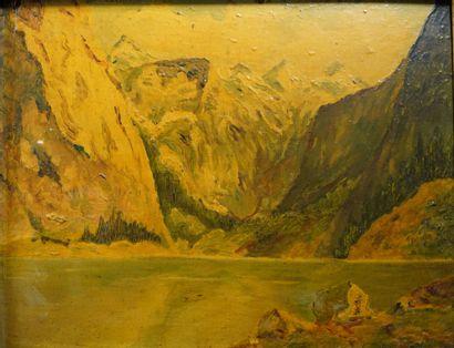 3- BATMINCKE (?)  ''Lac de montagne''  Huile...
