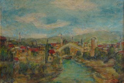 38- SOMOV  ''Pont de Mostar (Bosnie)''  Huile...