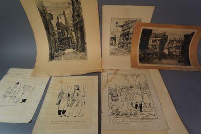 9- Ensemble de gravures et de reproductions...