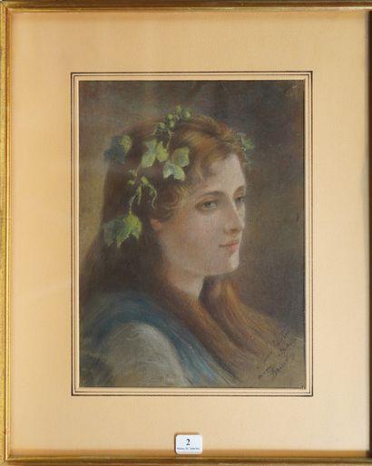 2- F. BOURDIN (?)  ''Portrait de jeune femme...