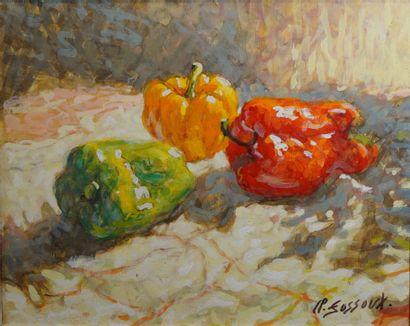 46- Claude FOSSOUX  ''Les poivrons''  Huile...