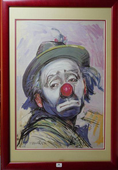 20- Michel BONELLI  ''Le clown''  Gouache...